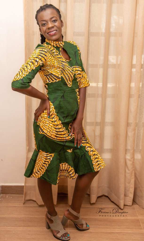 Green Ankara Styles and Yellow Fish design
